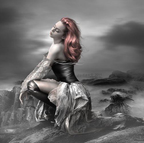 Gorgeous blonde girl in the wind. s_t_o_r_m_b_r_i_n_g_e_r_by_j_u_d_a_s. Digital art by British artist Paul