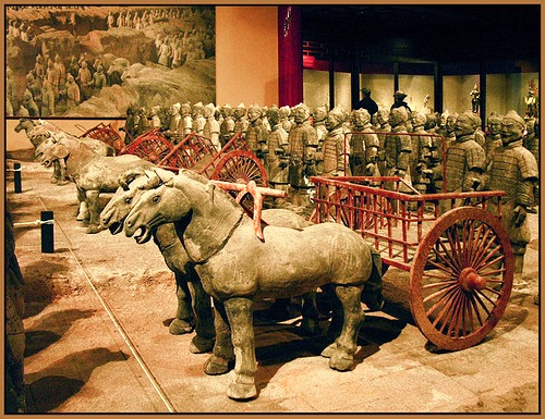 chariots with 520 horses and 150 cavalry horses