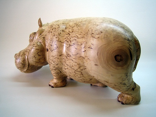 Hippo, Hand carving. Karelian birch sculpture by Russian artist Andrew Skorobogatyi