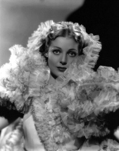 Loretta Young wearing a frothy costume designed for her role in the Fox film 'Caravan', directed by Erik Charell.