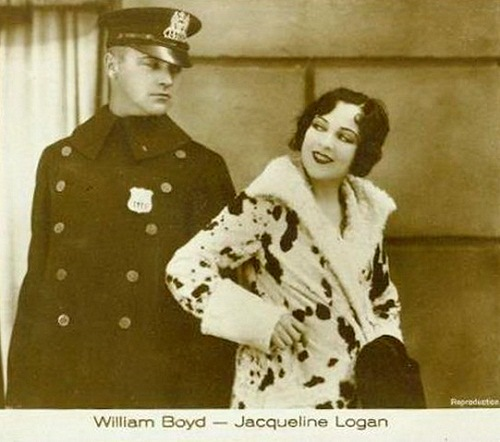 Scene from the silent movie. Most popular actress of 1920s Jacqueline Logan