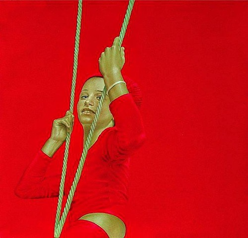Red Painting by Spanish artist Salustiano Garcia Cruz