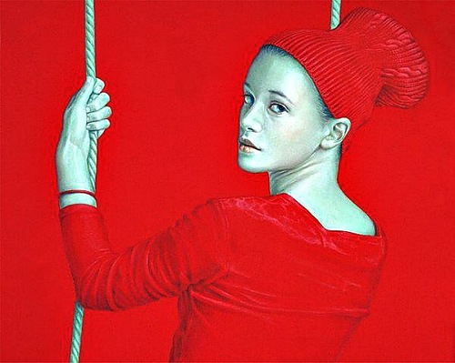 On the swing. Red Painting by Spanish artist Salustiano Garcia Cruz
