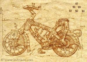 Drawing. Medieval Knight's steel bike