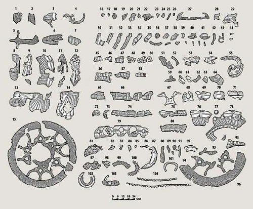 Drawing of parts of Medieval Knight's steel bike