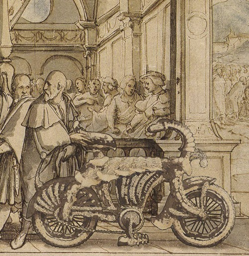 Rare Illustration showing Medieval Knight's steel bike
