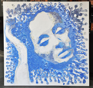 Melted candles Portrait of Adele by Chinese artist Hong Yi
