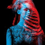 "A bird and a girl. Red and blue photography by French duo ""Helmo"" Thomas Couderc and Clement Vauchez"
