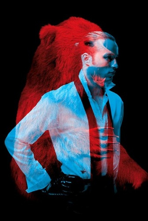 "A bear and a man. Red and blue photo installation by French duo ""Helmo"" Thomas Couderc and Clement Vauchez"