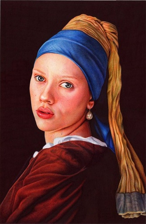 A girl with a pearl earring. Photo realistic drawing by Portuguese artist Samuel Silva