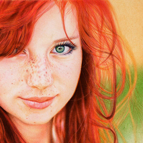 Closeup – red-haired girl. Photo realistic drawing by Portuguese artist Samuel Silva