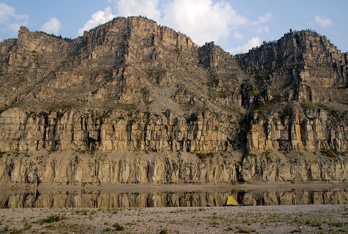Natural rock formation along the banks of the river