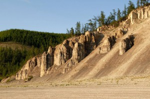 Picturesque landscape of Lena Pillars and Siberian river Olenyok