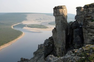 Fabulous rock formations along the river