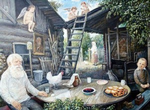 """""""Russian village"""", artist Leonid Baranov"""