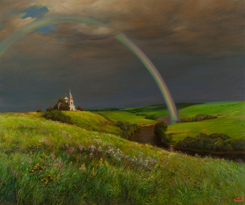 Rainbow on the Trinity, 2010, painting by Yuri Arsenyuk