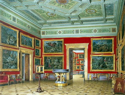 E. Hau. Interiors of the New Hermitage. Hall of Flemish School