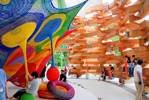 Lots of tourists enjoy the art installation in the Open-Air Art Museum