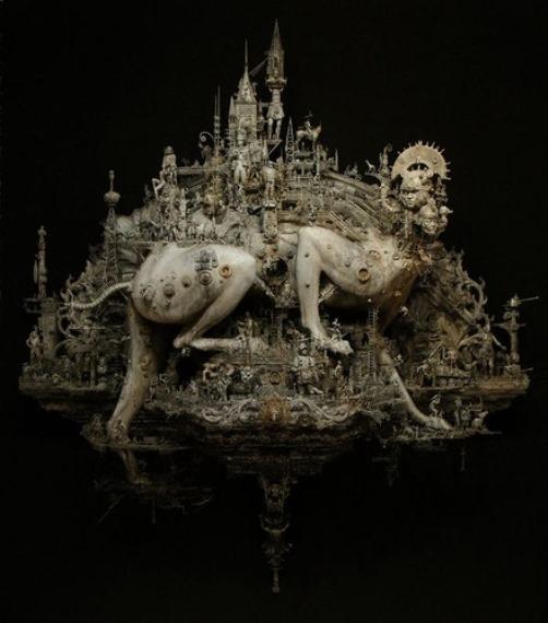 Opus 2. The plague parade. Sculpture by American artist Kris Kuksi