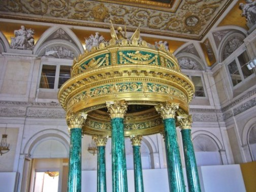 Malachite columns in The Winter Palace, Hermitage, Russia