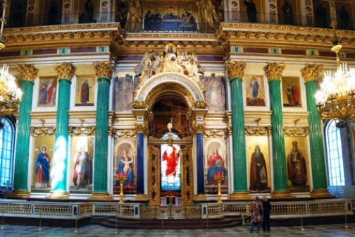 Malachite columns at the altar of St. Isaac's Cathedral in St. Petersburg, a height of about 10 m