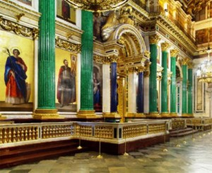 St. Isaac's Cathedral in St. Petersburg, malachite columns