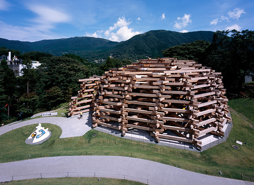 A gigantic constructions of wooden logs on the territory of Hakone Art Museum