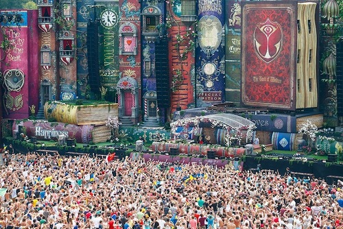 Gigantic fairy tale books stage at Tomorrowland Festival