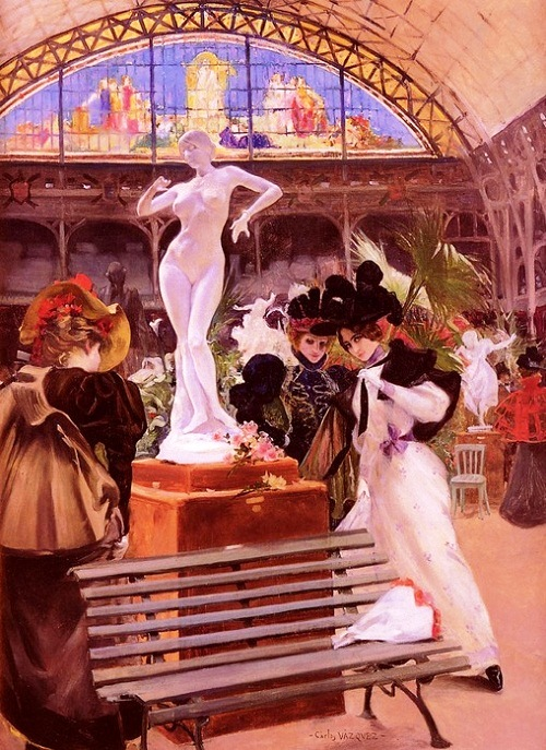 """The picture of Carlos Vasquez """"Cleo de Merode statue at the Salon of 1896"""""""