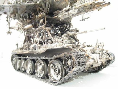 Fragment of sculpture by Kris Kuksi – tank