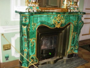 Malachite fireplace in the Yusupov Palace on the Moika (St. Petersburg)