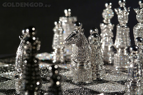 Thirty jewelers, led by Maquin spent over 4,500 hours on creating the royal collection. The work was done from start to finish by hand. The artists and jewelers used 1168.75 grams of 14 carat white gold, and approximately 9900 black and white diamonds. Weight was 186.09 carats
