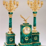 Mantelpiece Clock. Russia, 1830s. Malachite and bronze; mosaic and gilded