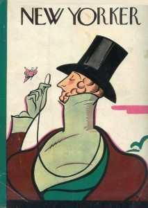 First issue's cover with dandy Eustace Tilley, created by Rea Irvin. The image appears on the cover of The New Yorker with every anniversary issue