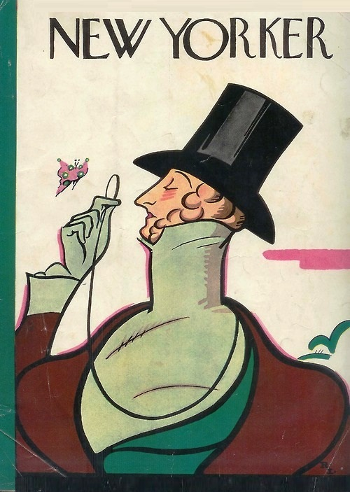 First issue's cover with dandy Eustace Tilley, created by Rea Irvin. The image appears on the cover of The New Yorker with every anniversary issue. The New Yorker vintage covers