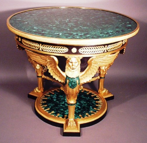 Russian Emperial Style Figural Gilt-Bronze and Malachite Mounted Table de Milieu, with figures of winged lions, accanthus leave and wreaths. Circa 20th Century
