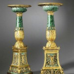 pair of Empire gilt bronze and malachite tazze made by the preeminent bronzier Pierre-Philippe Thomire and signed Thomire à Paris date circa 1811