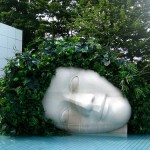 A huge head covered with plants. Sculpture located in Hakone Open-Air Museum