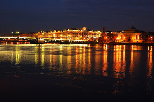View from the Neva to the complex of buildings of the State Hermitage Museum