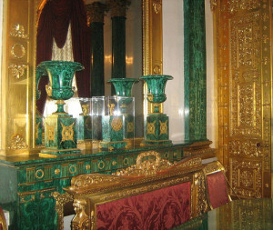 This malachite miracle was created by older brother of Karl Briullov, Alexander. The most beautiful room in the Winter Palace, Malachite room