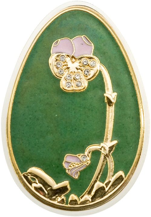 Faberge egg coins. Big green egg coin, Cook Islands, 2010, $ 5, Silver 999, 20 g, size 30 * 43 mm, proof, Bohemian glass