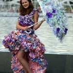 Flower Dress and umbrella. fashion show in Moscow