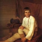 Peasant boy, putting on sandals. AG Venetsianov