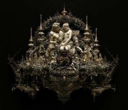 Pan discomforting Psyche Sculpture by American artist Kris Kuksi