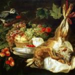 Fyt Jan – Rabbit, fruit and a parrot