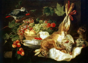 Fyt Jan – Rabbit, fruit and a parrot