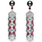 Sarafan Earrings. Spectacular pendant earrings, with a pearl stud from which hangs the distinctive Sarafan cupola and a fluid tassel of Alexandrites, rubies and pearls, in the style of traditional Russian textiles. This piece is set in 18 carat white gold and features 2 pearls and white diamonds, rubies and alexandrites totalling 7.95 carats.