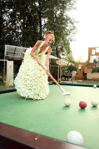 Playing billiard. Flower fashion show in Moscow