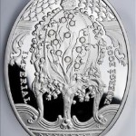 "Imperial Faberge eggs. ""Coronation Egg"". Niue, 2010, $ 2, 925 Silver, 56.56g, circulation 5000 copies., Diameter 41.6 * 55.6 mm capsule, the certificate 5300 rubles"