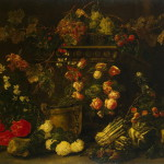 Still Life with Flowers Fruit and Parrot Painting by Fyt Jan